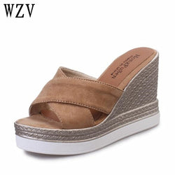 2018 Summer Women's Sandals suede Fish Mouth Shoes woman Fashion high Heels Platform Open Toe Women Sandals B712