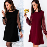 2018 Summer pearl beading mesh dress for women Vintage wine red black casual dress Patchwork party dresses vestido de festa