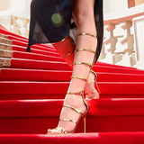 2018 Super Harmony Knee High Sandals Summer Boots High Heels Women Pumps Open Toe Sandailas Mujer Stiletto Star Red Carpet Shoes