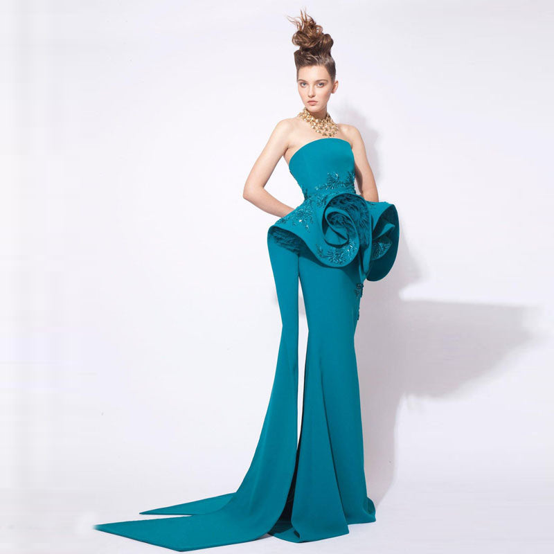2018 Teal Fashion Mermaid Prom Gowns Arabic Middle Eastern Evening ...