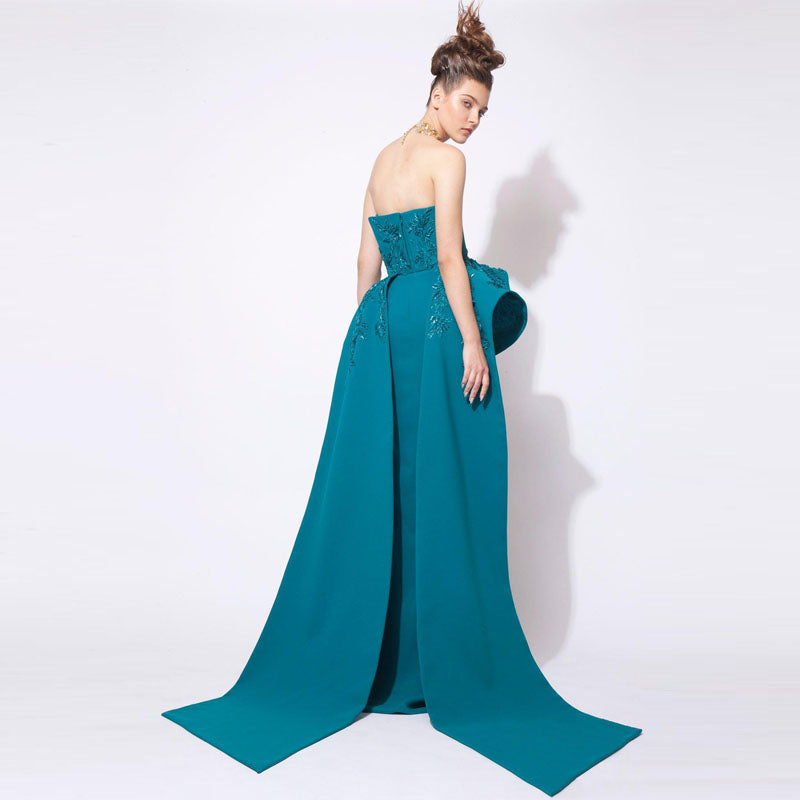 2018 Teal Fashion Mermaid Prom Gowns Arabic Middle Eastern Evening
