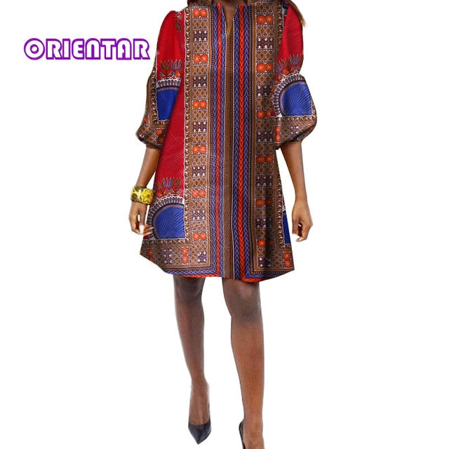 893d5e53379 ... 2018 Traditional African Print Dress Women Three Quarter Casual Shirt  Dress Dashiki Plus Size Loose Dresses ...