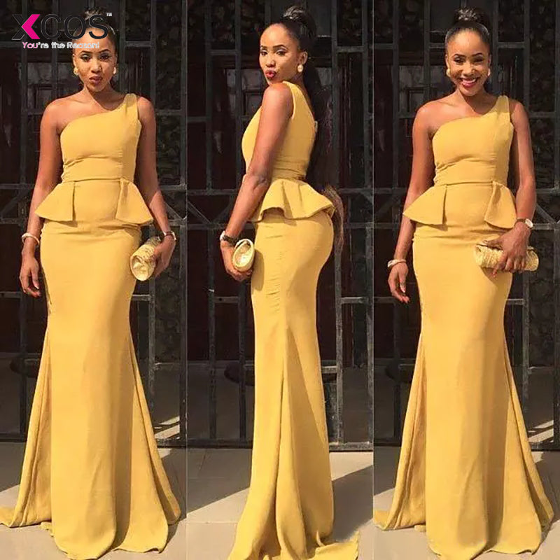 4ace6f341c 2018 Turmeric Mermaid Prom Dresses Long Cheap One Shoulder Chiffon Formal  Party Evening Gowns With Peplum Custom Made