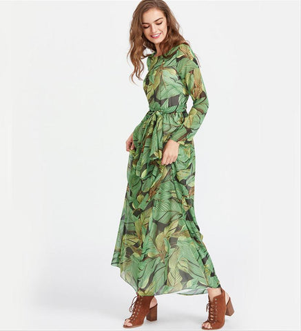 19c00066b6 ... Image of 2018 Vestidos Verano Summer Chiffon Dress Women Floor-length  Floral Print Long Sleeve ...