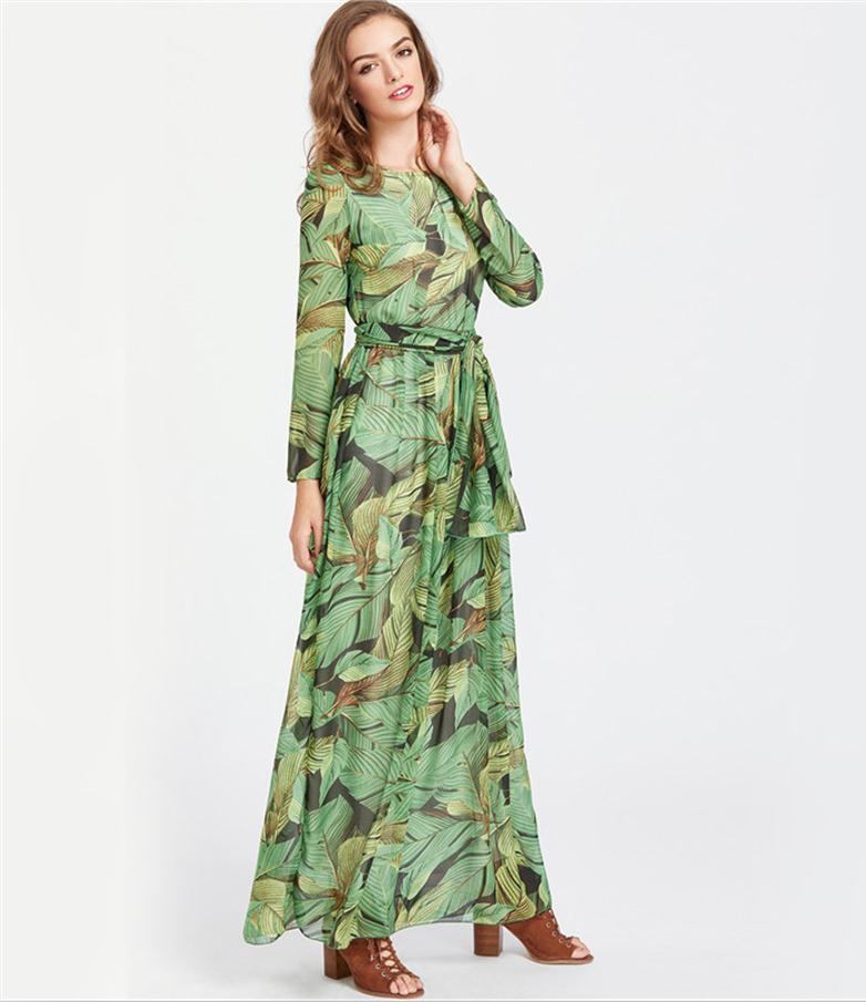 d4cd345f30 Hover to zoom · 2018 Vestidos Verano Summer Chiffon Dress Women Floor-length  Floral Print Long Sleeve Maxi Dresses