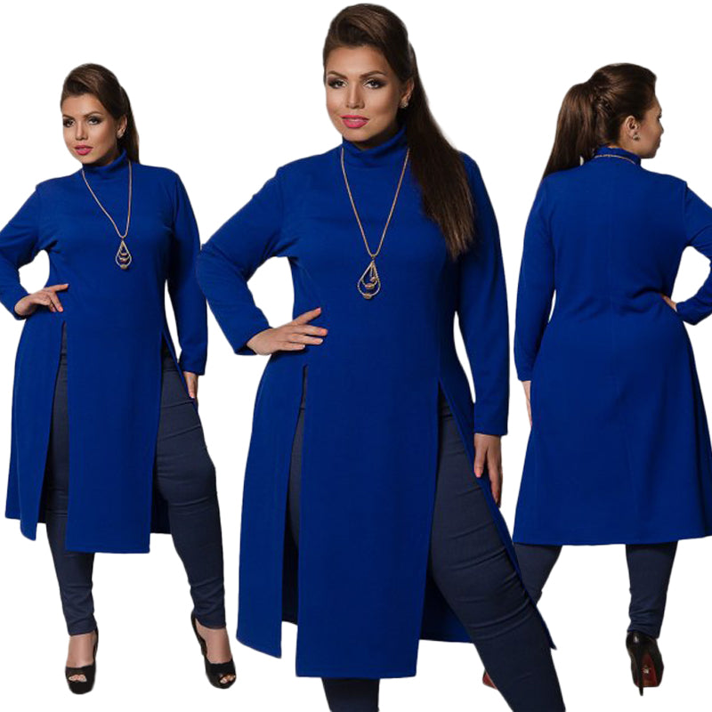 38876677c6fe Hover to zoom · 2018 Winter Women Dress Plus Size Women Clothing Long  Sleeve High Slit T shirt Dress Maxi