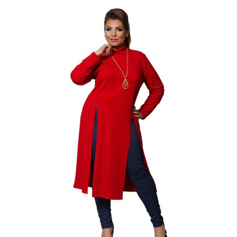 1e26133b73b 2018 Winter Women Dress Plus Size Women Clothing Long Sleeve High Slit T  shirt Dress Maxi. Hover to zoom