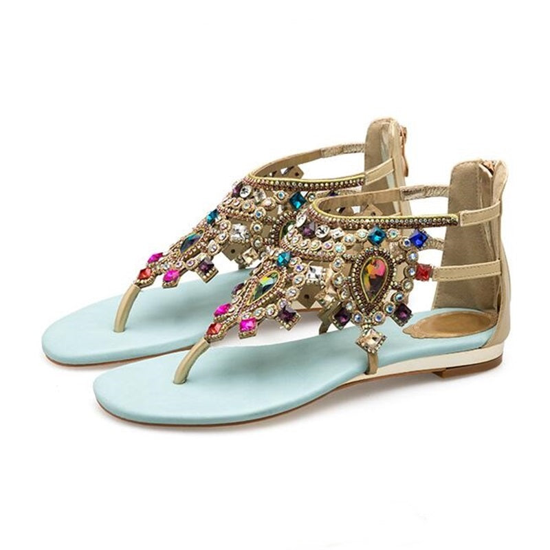 62f3d94a04162d 2018 Woman Sandals Rhinestones Studded Thong Gladiator Flat Sandals Crystal  Chaussure Plus Size 46 Beach Shoes ...