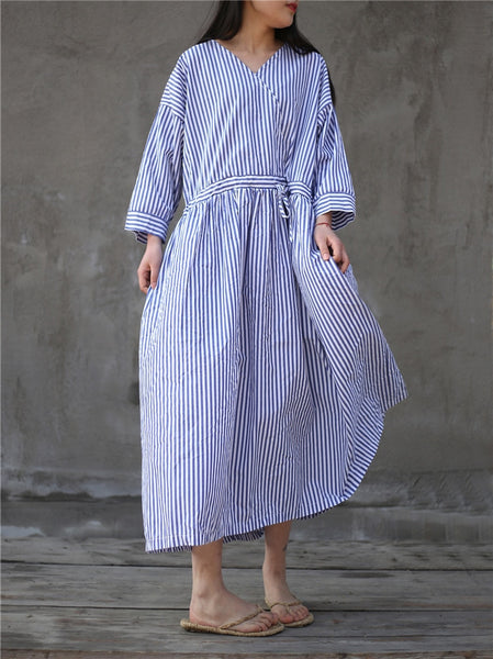 2018 Women Blue White Striped V-Neck Long Dresses Spring Simple Loose Sashes Lace Up Patchwork High Waist Maxi Loose Dresses
