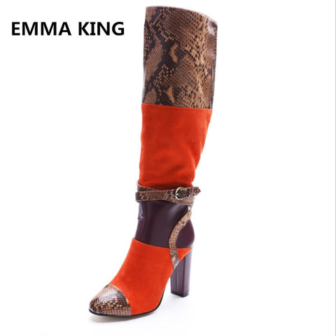 2018 Women Fashion Snake Color Matching Belt Buckle Knee High Thick Heel Boots Stage Model Catwalk  Shoes Big Size 35-45