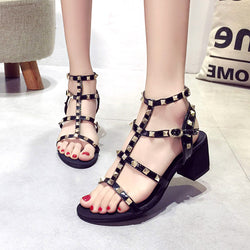 2018 Women Sandals Open Toe Rivet Sandals Slippers Slides Summer Block High Heels 6cm Women Shoes Gladiator Sandalia Mujer