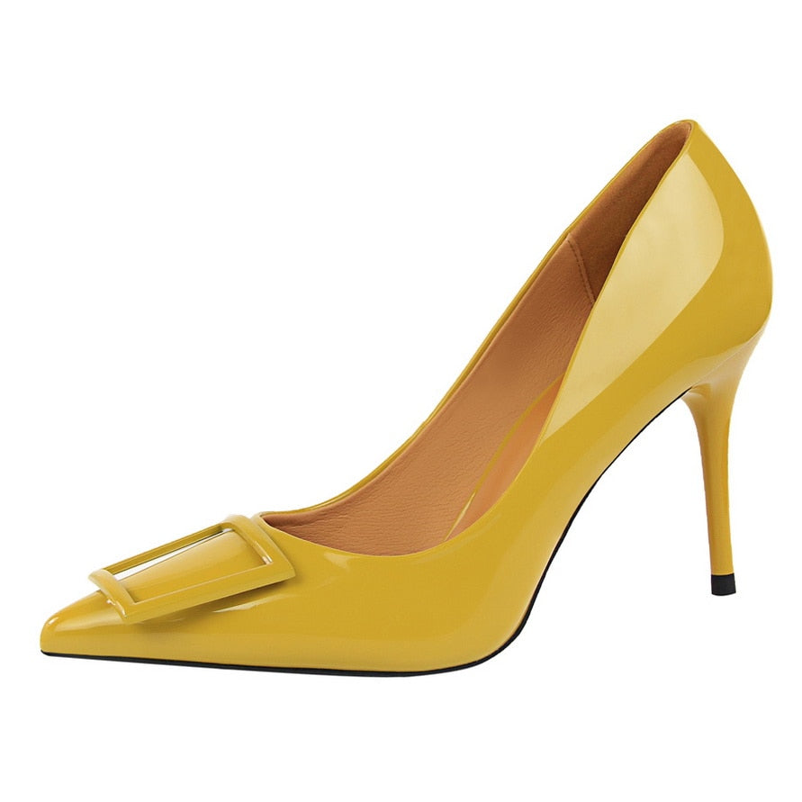 e95eddb6d1e ... 2018 Women Sexy Fetish High Heel Pumps Yellow Heels Scarpin Female  Party Prom Shoes Elegant Office ...