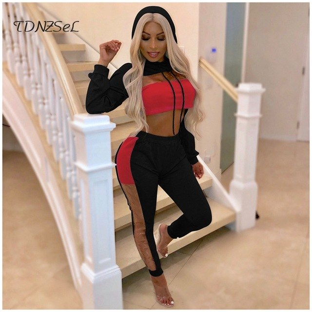 b6d4b8058c6b ... 2018 Women Sexy Hoodies Crop Top Trousers 2 Two Piece Sets Open Chest  Sweatshirts Side See ...