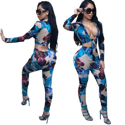 2018 Women Sexy Two-piece Camouflage Flower Digital Printing Belt Pants Crop Top Woman Suit