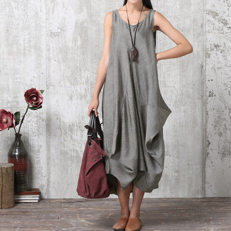 1dda46e7443a ... Summer Vintage O Neck Sleeveless Work Office Baggy Dress Loose Casual  Party Beach. Hover to zoom