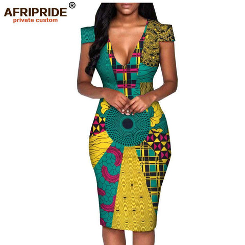 2018 africa summer dress for women AFRIPRIDE tailor made short sleeve knee length casual women pencil dress 100% cotton A1825074