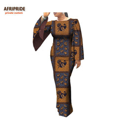 2018 african clothes casual dress for women AFRIPRIDE full cloak sleeve o-neck ankle-length women batik cotton dress A7225110 1
