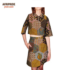 2018 african clothes spring skirt suit for women AFRIPRIDE half sleeve short top+knee-length skirt casual women suit A1826001 1