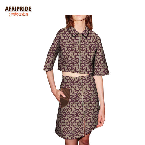 2018 african clothes spring skirt suit for women AFRIPRIDE half sleeve short top+knee-length skirt casual women suit A1826001