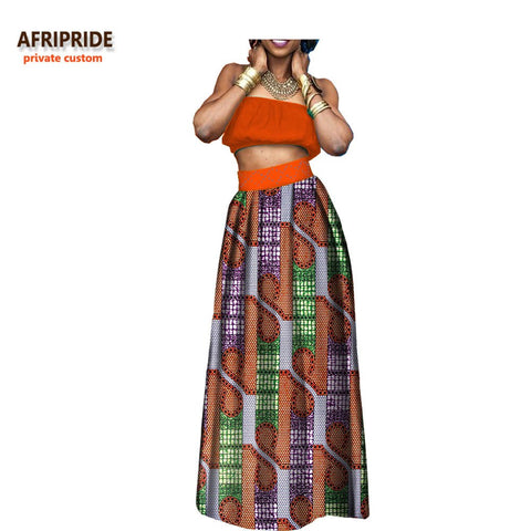 2018 african new spring casual women suit AFRIPRIDE strapless short top+ankle length pleated skirt women 2-pieces suit A722672 1