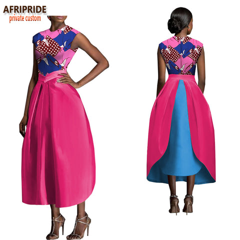 2018 african spring skirt suit for women AFRIPRIDE sleeveless o-neck top+mid-calf length bud skirt women casual suit A1826002