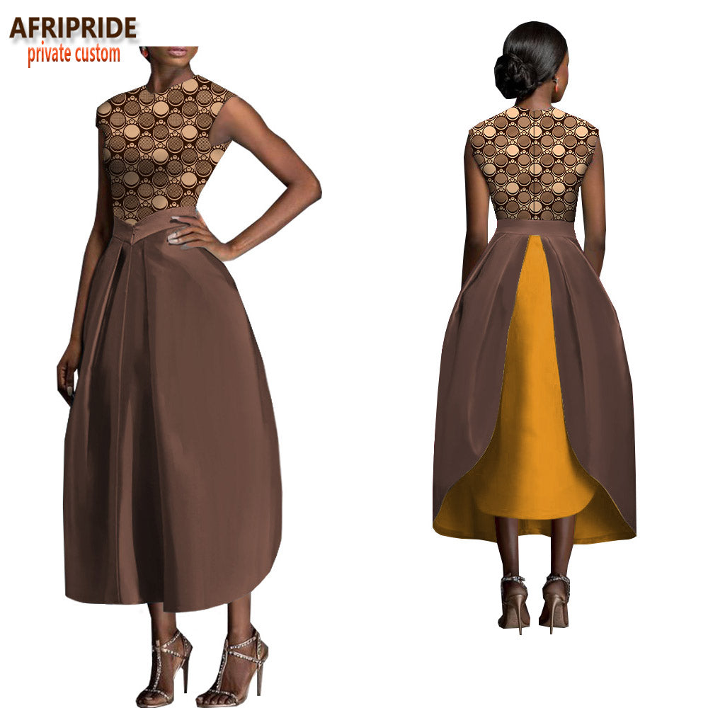 44729aae828 2018 african spring skirt suit for women AFRIPRIDE sleeveless o-neck top+mid-.  Hover to zoom