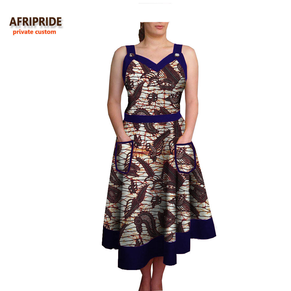 189193e0261 2018 african summer dress for women AFRIPRIDE sleeveless spaghetti strap  v-neck calf length casual. Hover to zoom