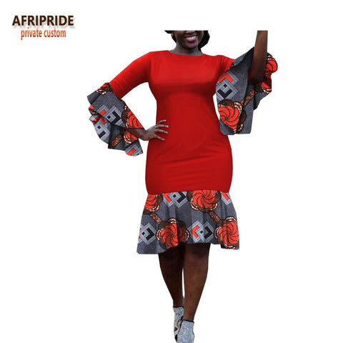 2018 african summer dress for women wrist flare sleeves knee-length casual women batik cotton trumpet dress A1825051 1