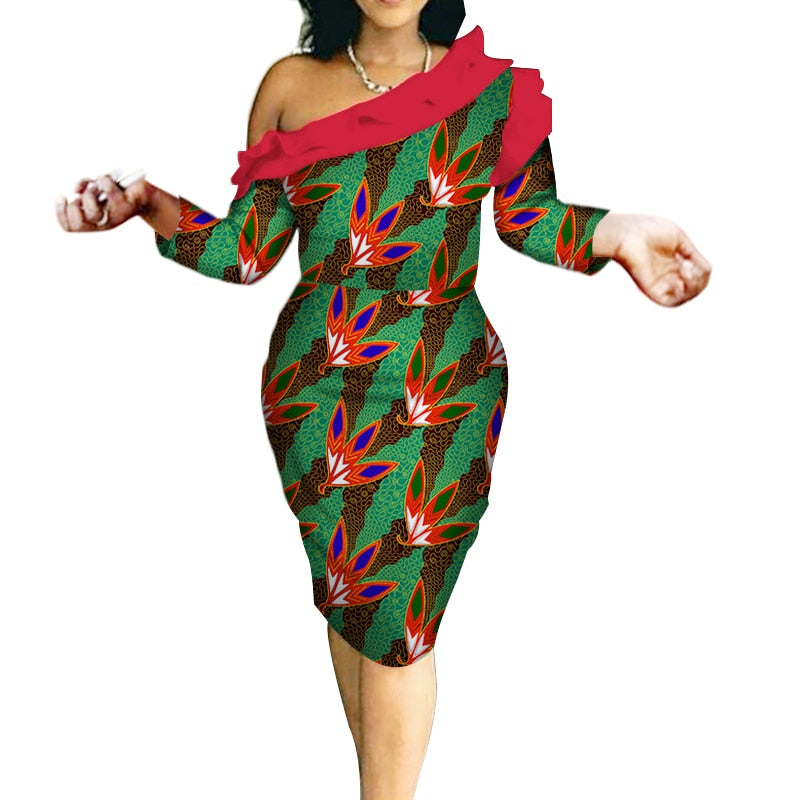 2018 autumn african dresses african print clothing for women plus size  women clothes Elegant lady with strapless shoulder WY265 1
