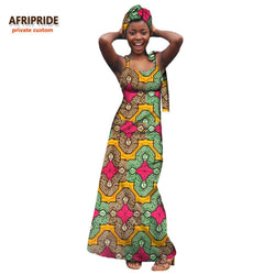 2018 casual african dress for women AFRIPRIDE private custom sleeveless ankle-length pure cotton dress with headscarf A7225103