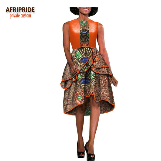 2018 casual dress for women african style AFRIPRIDE sleeveless knee-length casual bud women dress synthetic and cotton A1825048