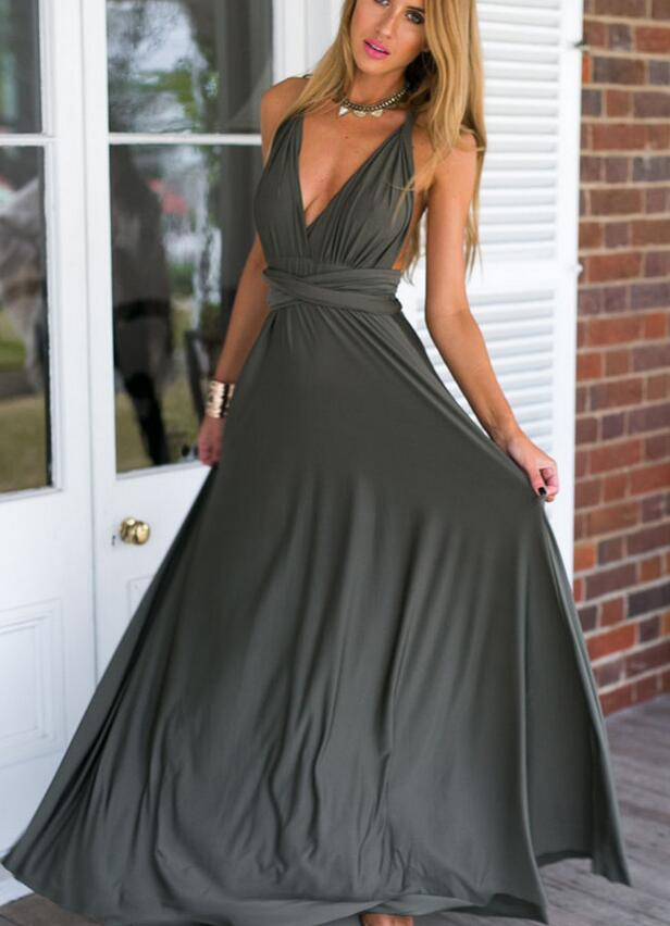 2018 deep V Neck strap backless bondage party gown party maxi long ...