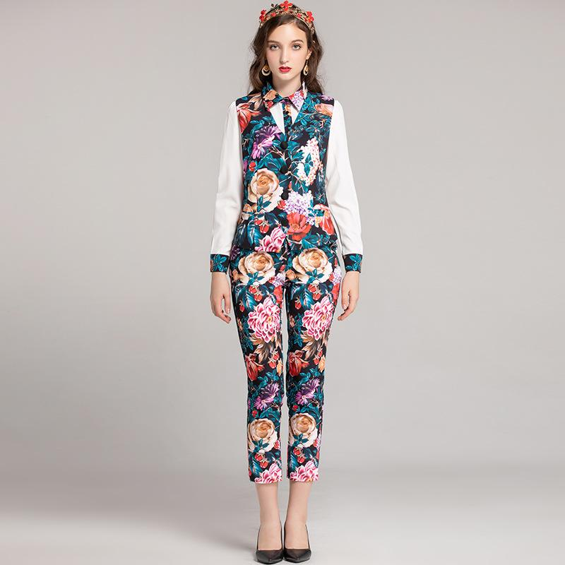 b26fbe1c6ffa Hover to zoom · 2018 Fashion Designer Suits Ladies' Turn Down Collar Long  Sleeves Shirts with Floral Pants Vests