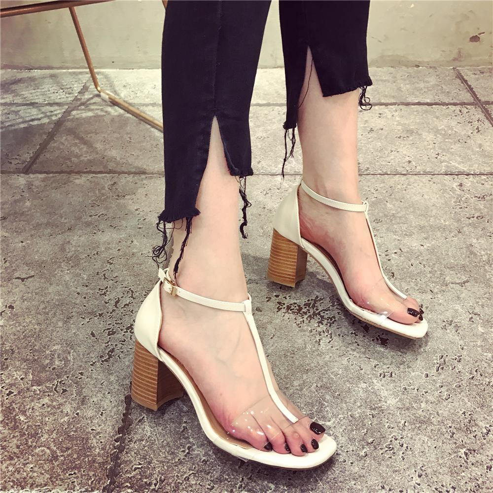 7db5b0f0f22 2018 new Korean version of the transparent square rough with sandals open  summer toe word deduction Rome high heels