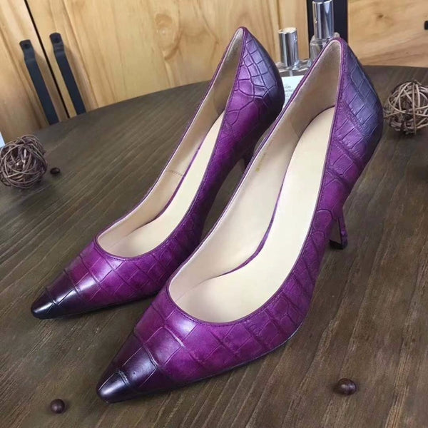 2018 new fashion 100% Genuine real crocodile belly skin lady high heel pump shoe for women purple yellow black