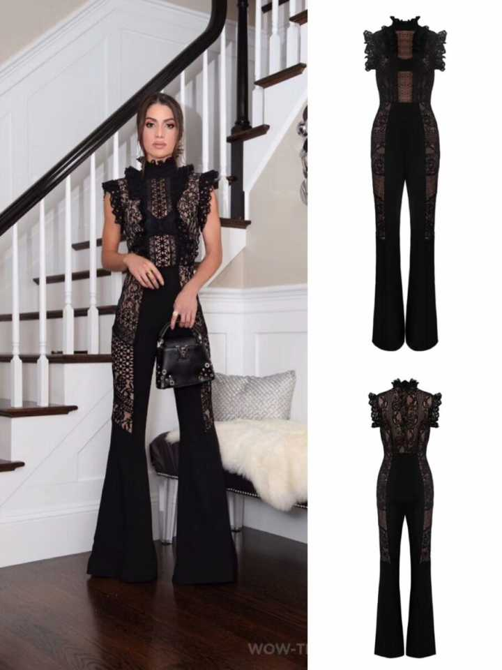 new season speical offer attractive style 2018 new fashion Black Turtleneck lace Sleeveless Women summer sexy Bandage  Jumpsuit Knitted Full Length jumpsuits