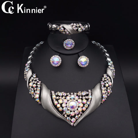 2018 new good quality jewelry set dubai, Africa beads wedding jewelry sets, white fashionable woman party necklace, earrings