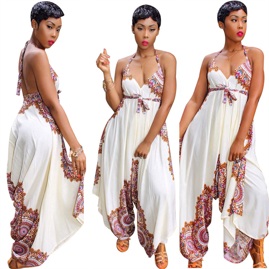 a30ebec865 2018 new sexy summer fashion african women printing plus size jumpsuit.  Hover to zoom