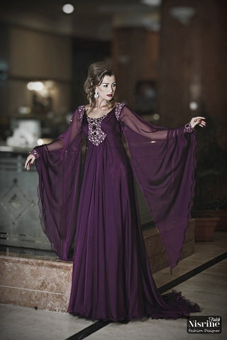 2018 robe de soire Elegant Long Sleeve Dubai Kaftan A Line Chiffon Beaded Arabic Purple Evening Gown mother of the bride dresses