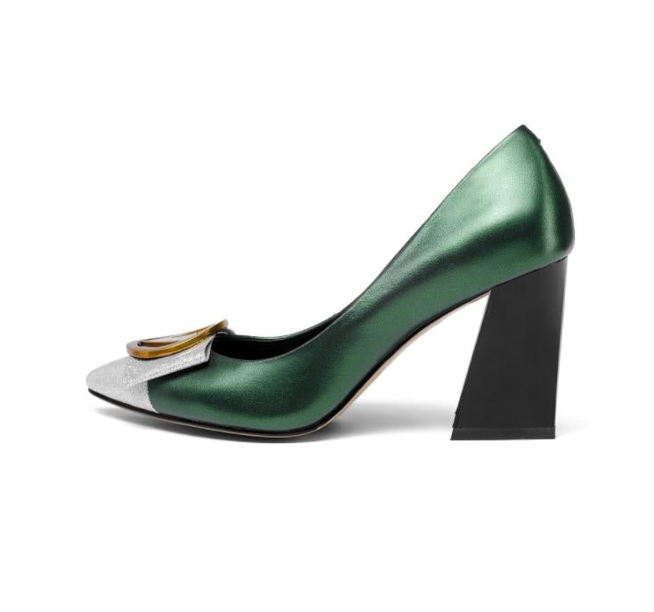 3605c04fb24 ... 2018 spring and summer new leather women s shoes pointed thick with high  heels metal buckle color ...