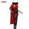 Image of 2018 spring&autumn african casual women pencil dress v-neck with rhinestone anle length dress with back cloak A1825046