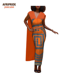 2018 spring&autumn african casual women pencil dress v-neck with rhinestone anle length dress with back cloak A1825046