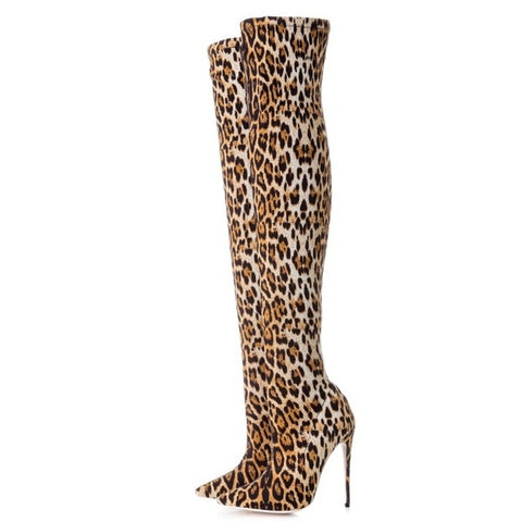 2018 spring autumn high heels flower print slim tight boots for woman over the knee Stretch boots leopard stilettos big size