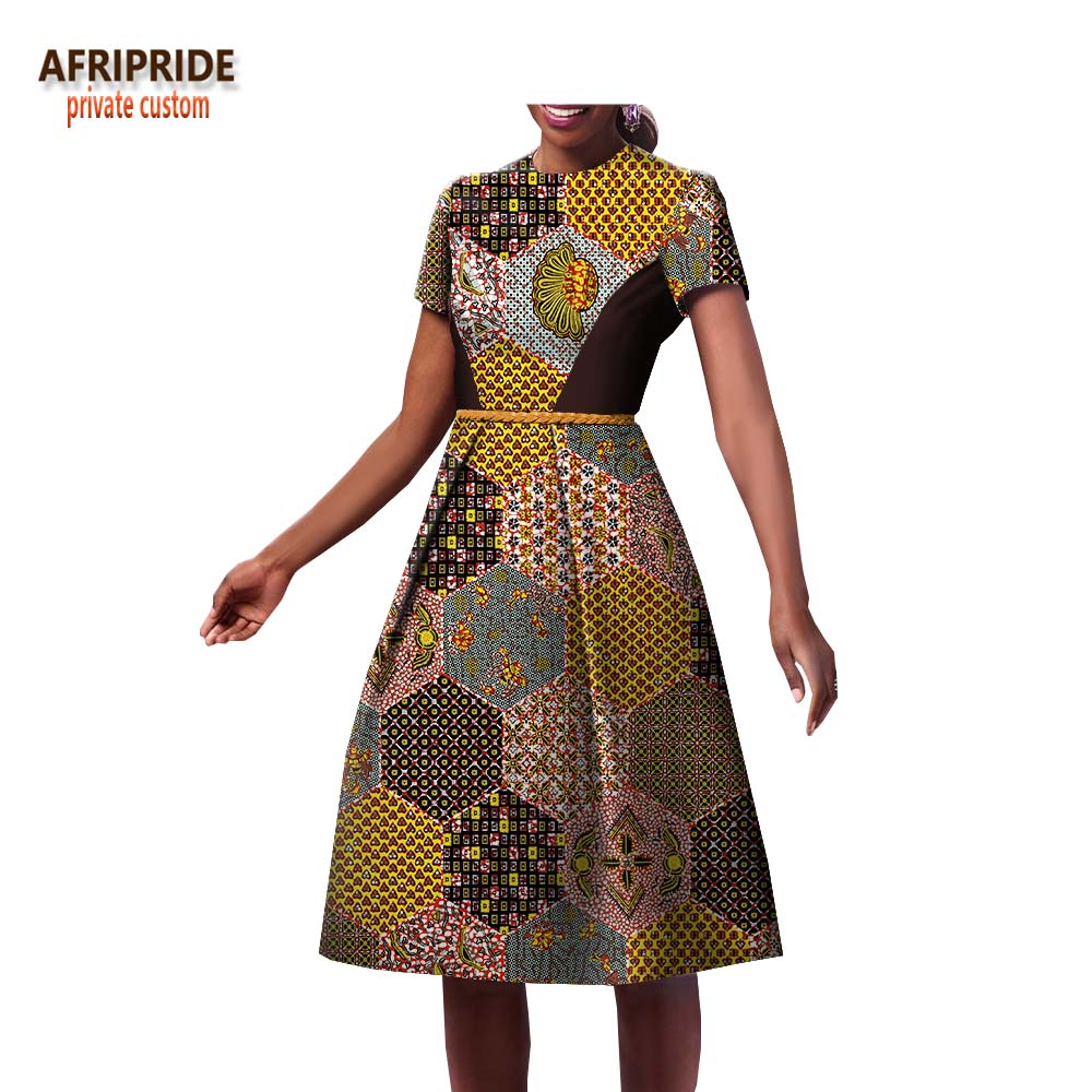 b569ae90b9da 2018 spring casual women dress african print AFRIPRIDE short sleeve knee- length A-Line. Hover to zoom