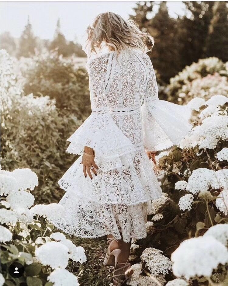 d042e4bb1565 2018 spring flare sleeve white lace long dress embroidery bohemian women  dresses high quality. Hover to zoom