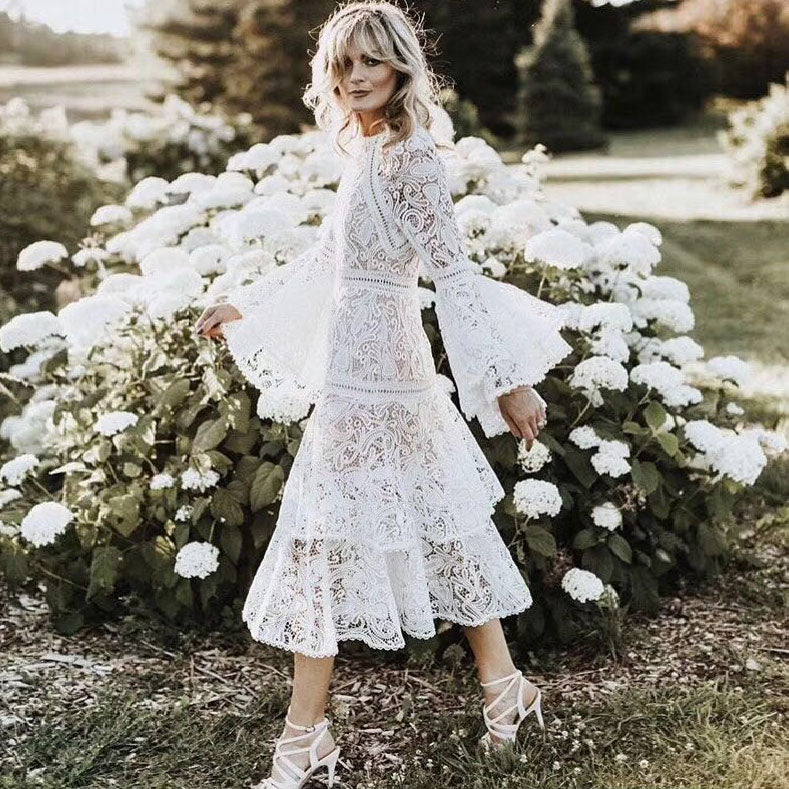 5ff95db1271c Hover to zoom · 2018 spring flare sleeve white lace long dress embroidery  bohemian women dresses ...