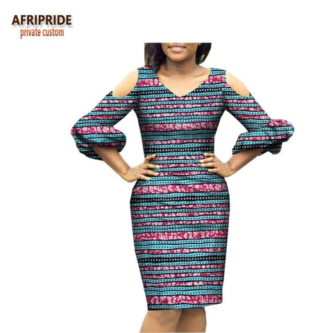 2018 spring new arrival casual pencil dress for women AFRIPRIDE three quarter lantern sleeve knee-length women dress A1825021