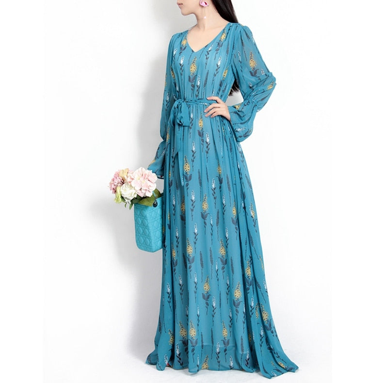 3f653cc172b ... designer fashion runway Maxi dress Women s Long Sleeve Floral Print  Belts Beautiful. Hover to zoom