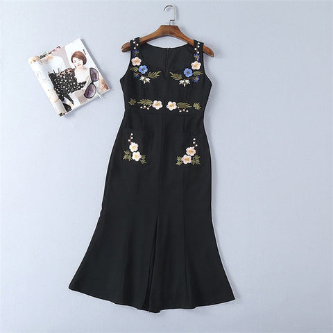 2018 spring summer new arrival embroidered famous brand black tank dress sleeveless elegant woman mermaid split midi dresses xl