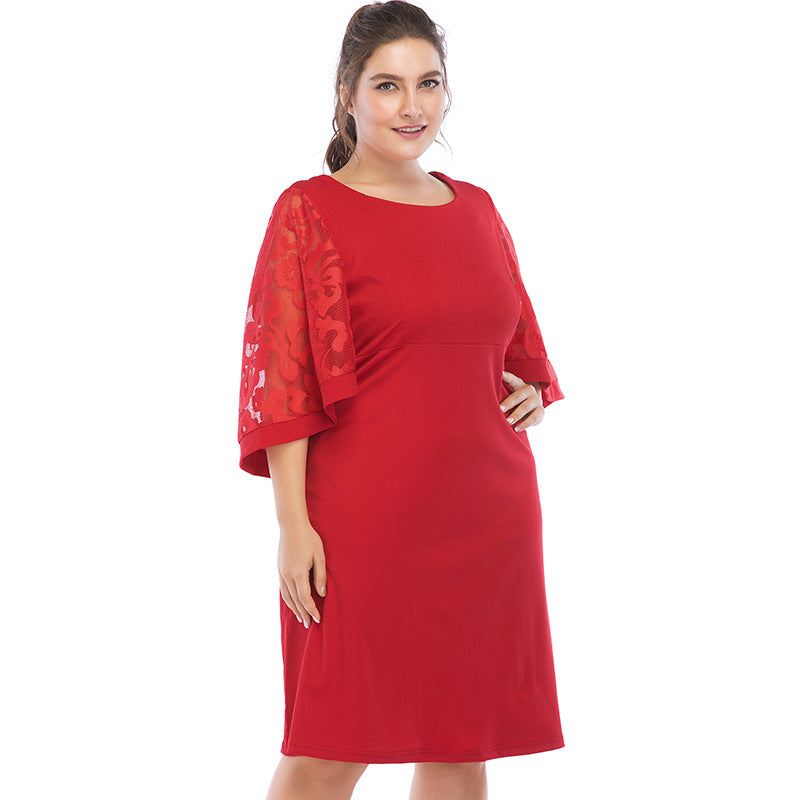 2018 summer elegent women plus size knee-length dress XL-6XL – Owame